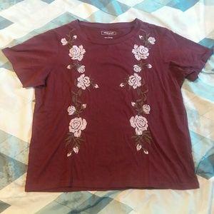 Adam Levine Burgundy Floral Embroidered Boxy Shirt